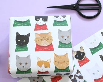 Christmas cat wrapping paper, christmas jumper