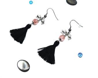 Dangling tassels and quartz earrings