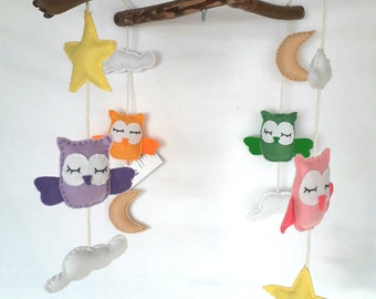 Mobile with driftwood and Rainbow felt owls
