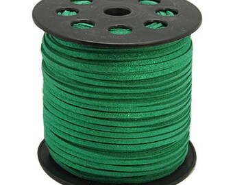 Green Suede, faux suede, 3mm sold per 1 M cord