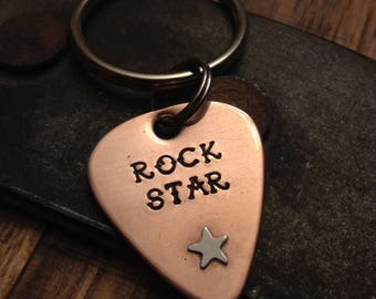 Rock Star Keychain - Guitar Pick Keychain - Hand Stamped Keychain - Gift for Him