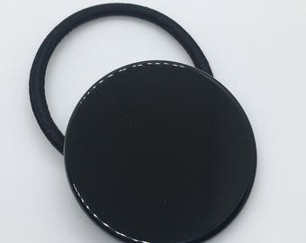 Black Circle Ponytail Holder Elastic Hair Band Hair Elastics