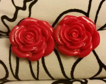 Beautiful Resin Red Rose Earrings
