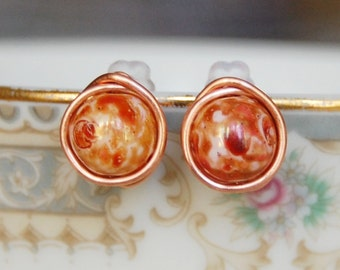 Copper Stud Earrings , Copper Glass Earrings , Fall Earrings