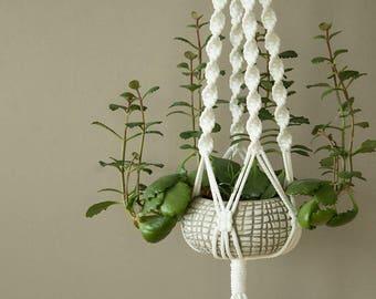 Décor extérieur - suspension en macramé blanc de l'usine des mamans de plante pour le motif, pouce vert, spirale, cadeau pour maman