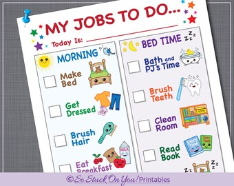 Routine Chore Chart for Morning and Bedtime - Instant Download - Printable - Kids can keep track of their daily routine!