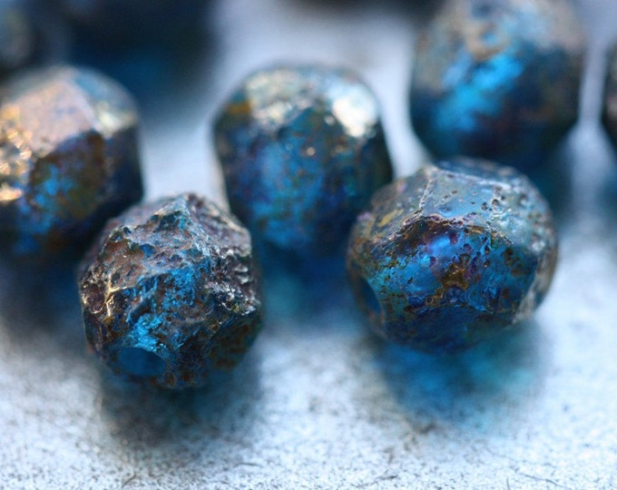 SAPPHIRE PEBBLES .. 25 Premium Stone Picasso Czech Glass Beads 6mm (5678-st)