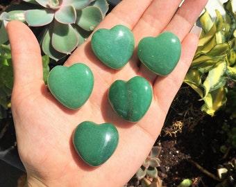Gemstone Hearts 10 Green Aventurine Heart Gemstones / Healing Crystals and Stones
