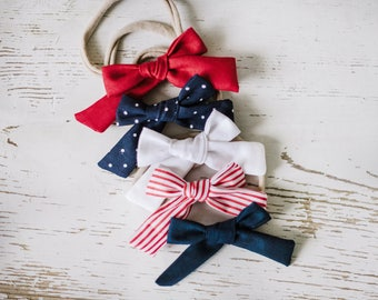 Baby Headband Set -4th of July Bows - Soft Baby Bows. Baby Bows. Toddler Accessories Nylon Baby Headbands. Baby Headbands. Baby bow clips
