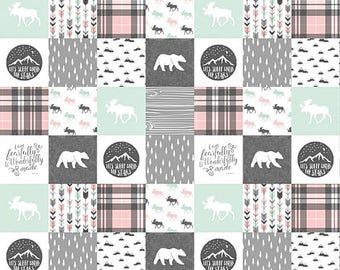 Baby Girl Quilt, Rustic Baby Quilt, Minky Baby Blanket, Woodlands Nursery Quilt, Bear Moose Plaid Pink Mint Gray Gray Crib Bedding