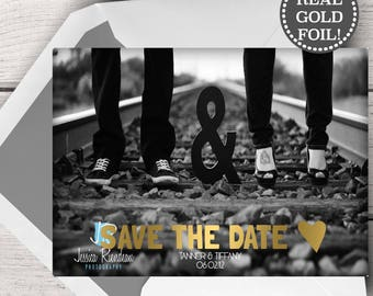 Gold Foil Save the Date Photo Card, Save the Date Photo Card Gold Foil, Real Gold Foil Save the Date Photo Cards, Save the Date Photo Gold