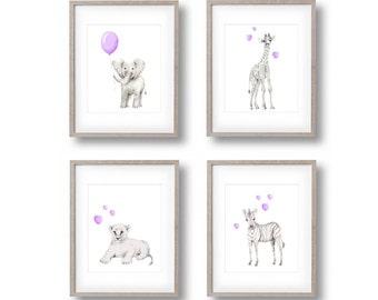 Safari Nursery Art, Set of 4 Prints, Elephant, Giraffe, Lion, Zebra, Lavender Nursery, Baby Animal Art, Childrens Wall Decor, Jungle Prints