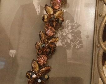 Unique Vintage Costume Bracelet with Gold, Black, Taupe, Brown Colors & Unique Design
