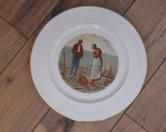 Vintage Decorative Plate  Peasant Couple in Field- The Angelus Gold Rimmed Plate