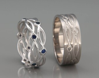 14K White Gold Eternity Wedding Rings set with Sapphire|Handmade 14k white gold eternity wedding Rings |His and Hers Wedding Bands Set
