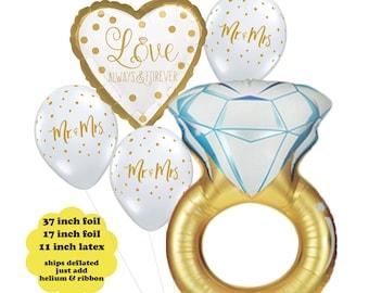 Bridal Shower Balloon Bouquet - Bachelorette Party Decorations Wedding Ring Balloon Set Love Wedding Balloons Decor Mr and Mrs Balloons