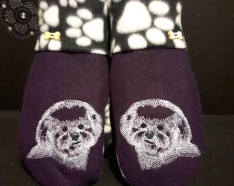 Bichon Embroidered Polar Fleece Mittens