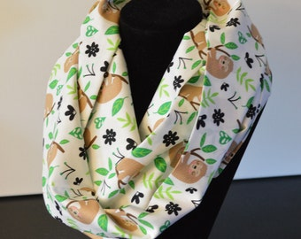 Sloth Infinity Scarf women's Cotton | loop scarf |  gift for her | circle scarf | animal scarf | white scarf | green scarf teacher gift