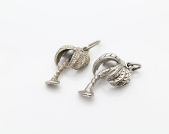 Two Vintage Three-Dimensional Palm Tree Charms in Sterling Silver. [8647]
