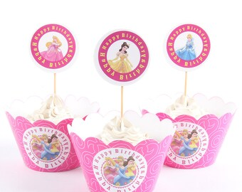Disney Princess Cupcake Wrappers and Toppers 24 Pieces