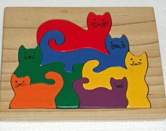 Montessori Rainbow Cats Wooden Puzzle, Kids Wooden Puzzle. Rainbow Puzzle, toddler puzzle, Wooden toy, Educational Toy, Birthday Gift