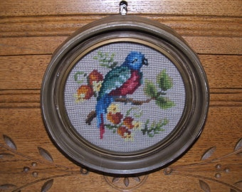 Antique Needlepoint Bird in Round Frame