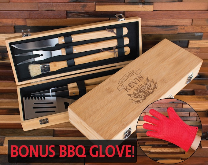 7 Piece BBQ Grill Tool Set, BBQ Set, Grilling Tools, Personalized Barbecue Set, Engraved Grillware, Grill Master Gift, BBQ Gift for Men