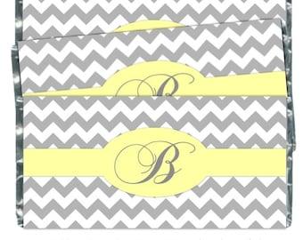 50 Chevron Wedding Candy Wrappers, Chevron Monogram Candy Wrappers, Bridal Shower Candy Wrappers - fit over 1.55 oz chocolate bars