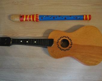 Vintage Soviet children's toys. Guitar and pipe. Original