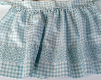 Vintage Child's Gingham Blue White Apron Embroidered