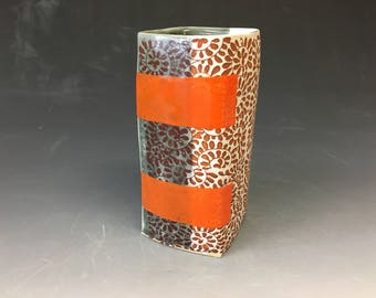 Grey and White Vase with Two Orange Stripes