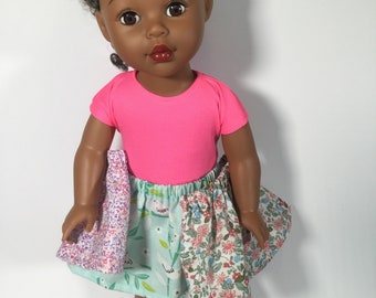 Girl doll skirts, T-shirt, Mini Wardrobe Special, 3 Easy-on skirts,Top, Gathered skirts, 3 outfits in 1, Fit like American.Girl doll clothes