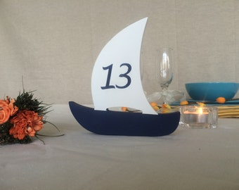 Beach wedding table numbers boats, table numbers wooden Sail Boats, number on both sides for summer outdoor wedding
