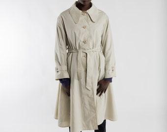 Ladies preppy trenchcoat / Vintage women's trench coat / Beige 70s oversized classic trenchcoat /Khaki brown long Summer coat / Size S