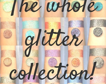 The whole collection pressed glitter eyeshadow, 26mm or 36mm magnetic pans, cosmetic grade glitter, 49 pans, 1 jar