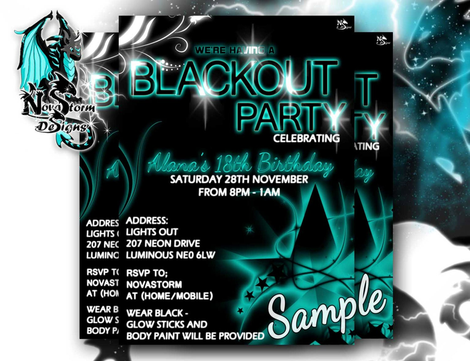 Blackout Party Invitations UV Glow/ Dance Party Blacklight