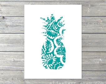 Pineapple Art Print - Pineapple Wall Art - Pineapple Artwork - Tropical Fruit Art - Teal Turquoise Blue and White Pineapple