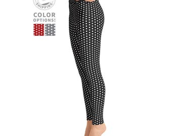 Black & White Polka Dot Leggings | Printed Leggings | Pilates Leggings | Yoga Pants | Simple Pattern Leggings | Yogawear | Loopy Jayne