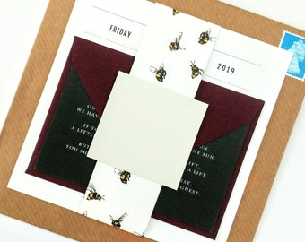 Bees Wedding Invitation Wrap Belly Bands