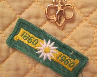 Vintage Girl Scout Badge/ Brownie Pin - Juliette Lowe 100th Birthday Patch - Brownie Membership Pin 1960