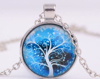 tree of life glass cabochon necklace