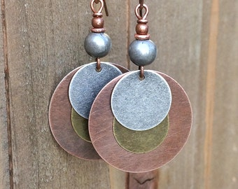 Mixed Metal Jewelry, Mixed Metal Earrings, Copper Jewelry Earrings, Copper Dangle Earrings, Copper Silver Jewelry