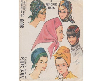 4 Easy to Sew 1960s Hats McCalls 8009 Turban Style Hats, Hood, Kerchief Style Vintage Sewing Pattern 2 Sizes 21 1/2 to 23""