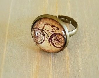Vintage style bicycle ring, Adjustable bicycle ring, antique brass ring,bicycle jewelry
