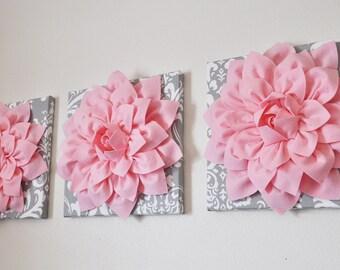 "Nursery Wall Art -SET OF THREE Light Pink Dahlia on Gray and White Damask 12 x12"" Canvas -Wall Flower"