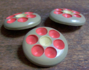 Vintage Wood Buttons Carved Dots Red & Yellow Flower Design