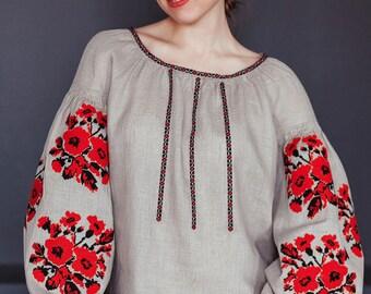 Linen embroidered blouse, vyshyvanka, ukrainian vyshyvanka