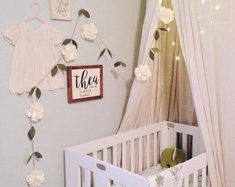 Felt Floral Garland -  Rose Flower Garland - Baby Girl's Nursery Decor - Boho Flower Garland