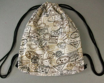 String Backpack - Passport Print