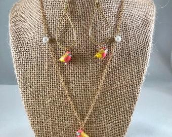 Pink and Yellow Bird Necklace Set, Bird Necklace Set, Bird Jewelry Set, Spring Jewelry Set, Spring Necklace Set